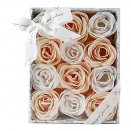 Coffret de 12 roses en feuilles de savon blanches et nude - Rose