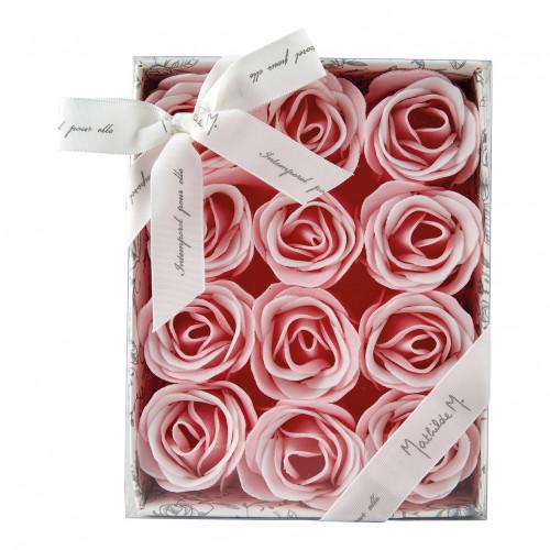 Coffret de 12 roses en feuilles de savon roses et blanches - Rose